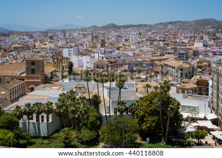 MALAGA, ANDALUCIA/SPAIN - MAY 25 : View from the Alcazaba Fort and Palace in Malaga Spain on May 25, 2016 - stock photo