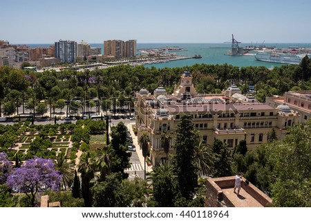 MALAGA, ANDALUCIA/SPAIN - MAY 25 : View from the Alcazaba Fort and Palace in Malaga Spain on May 25, 2016. Unidentified person - stock photo