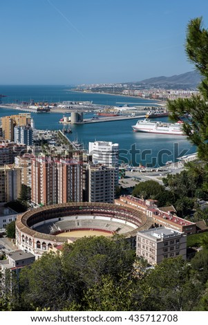 MALAGA, ANDALUCIA/SPAIN - MAY 25 : View of the Harbour Area of Malaga Spain on May 25, 2016 - stock photo