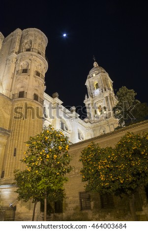 Malaga Cathedral illuminated at night
