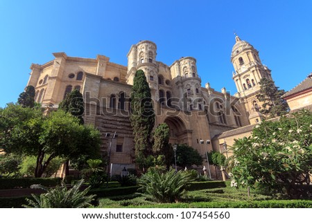 Malaga Cathedral in Andalusia, southern Spain. - stock photo