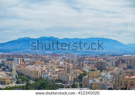 Malaga center panoramic view, Spain, Andalusia