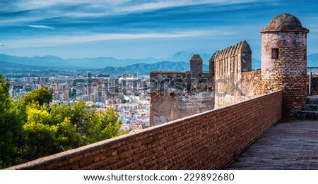 Malaga cityscape, view from the Gibralfaro fortress. Andalusia, Spain  - stock photo
