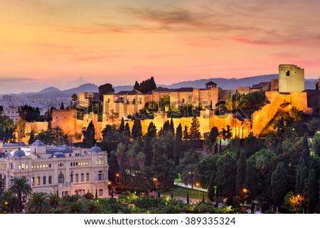 Malaga, Spain at the Alcazaba citadel. - stock photo