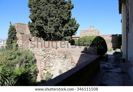 MALAGA, SPAIN- AUGUST 23, 2014:Alcazaba castle on Gibralfaro mountain. Malaga, Andalusia, Spain. The place is declared UNESCO World Heritage Site