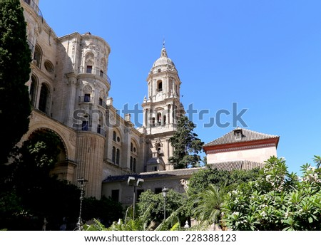 MALAGA, SPAIN- AUGUST 23, 2014: Cathedral of Malaga --is a Renaissance church in the city of Malaga, Andalusia, southern Spain.
