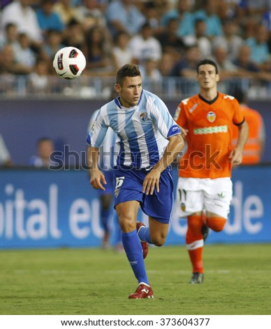 MALAGA, SPAIN. 28-August-2010.  During the La Liga match between CF Malaga and Valencia, played in La Rosaleda Stadium, Malaga Spain.