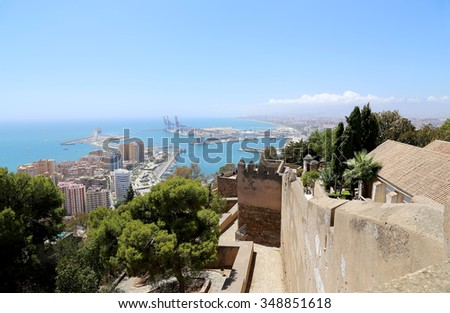 MALAGA, SPAIN- AUGUST 23, 2014: Gibralfaro Castle in Malaga, Andalusia, Spain. The place is declared UNESCO World Heritage Site   - stock photo