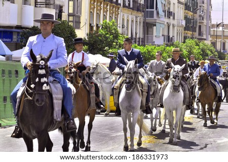 MALAGA, SPAIN - AUGUST, 14: Horsemen and carriages at the Malaga´s August Fair on August, 14, 2009 in Malaga, Spain