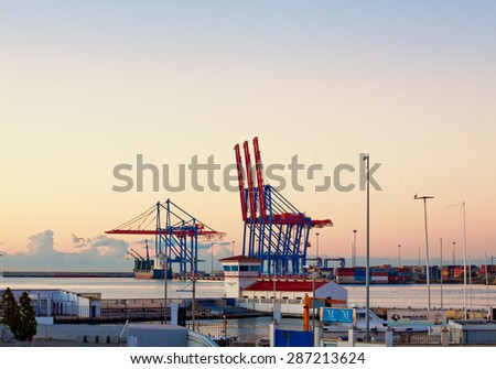 MALAGA, SPAIN - DECEMBER 5: Container terminal in the industrial port of Malaga. December 5, 2014 in Malaga, Andalusia, Spain