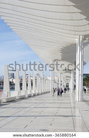 MALAGA, SPAIN - JANUARY 19: Malaga port on January 19, 2016 in Malaga, Spain. It is the second most populous city of Andalusia.