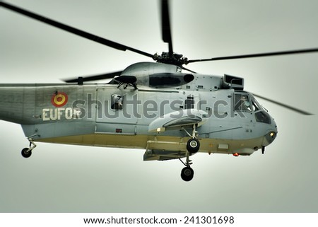 MALAGA, SPAIN - January 19: Military Helicopter 19, 2009 in Malaga, Spain. in Malaga Airport, Spain. At the time of liftoff.