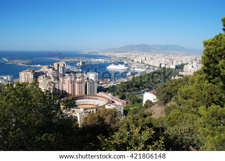 MALAGA, SPAIN - JULY 11, 2008 - Elevated view of the bullring and port area, Malaga, Malaga Province, Andalucia, Spain, Western Europe, July 11, 2008. - stock photo