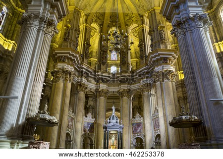 Malaga, Spain - July 20, 2015: Interior of Malaga Cathedral, Andalusia, Spain