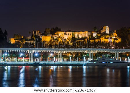 Malaga, Spain - March 15, 2017: Skyline of Malaga Cathedral at night from harbour