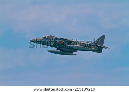 MALAGA, SPAIN-MAY 28: Aircraft AV-8B Harrier Plus taking part in an exhibition on the day of the spanish army forces on May 28, 2011, in Malaga, Spain