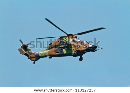 MALAGA, SPAIN-MAY 28: Helicopter Eurocopter EC-665 Tiger of the FAMET taking part in an exhibition on the day of the spanish army forces on May 28, 2011, in Malaga, Spain
