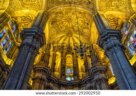 MALAGA, SPAIN - OCTOBER 12, 2014: Beautiful ceiling of the Cathedral - a Renaissance church in Andalusia. The interior has gothic and neoclassical art pieces. - stock photo