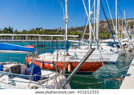MALAGA, SPAIN - SEPTEMBER 4 2014: Enbankment in marina