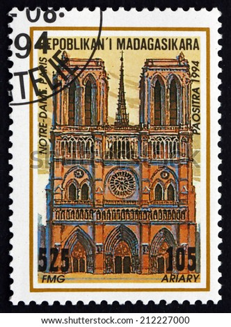 MALAGASY - CIRCA 1995: a stamp printed in Malagasy, Madagascar shows Notre Dame Cathedral, Paris, France, circa 1995 - stock photo