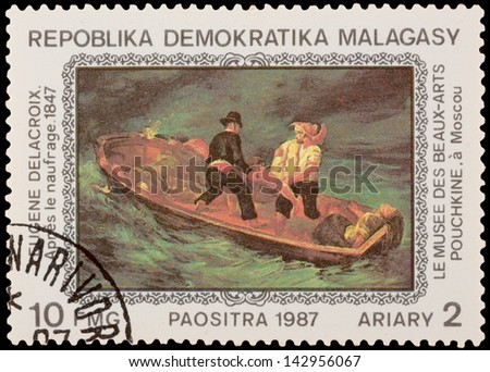 MALAGASY - CIRCA 1987: A stamp printed in the MALAGASY, shows paint by artist Eugene Delacroix - Shipwrecked, circa 1987
