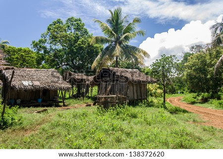 Malagasy typical village in Nosy Be, north of Madagascar - stock photo