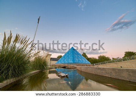 MALARGUE, ARGENTINA - JANUARY 4: Planetarium dome on Jan 4, 2015 in Mendoza, Argentina. The planetarium and the cosmic rays observatory Pier Auger attract scientific tourism to the far Malargue town - stock photo