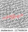Malaria and dengue info text graphics and arrangement - stock photo