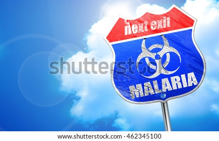 malaria concept background, 3D rendering, blue street sign