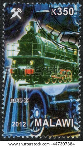 "MALAWI - CIRCA 2012: A post stamp printed in Malawi shows a series of images ""History of rail transport"", circa 2012"
