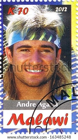 MALAWI - CIRCA 2012: A stamp printed in Malawi shows Andre Agassi, series, circa 2012 - stock photo