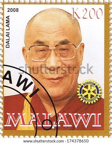 MALAWI - CIRCA 2008: A stamp printed in Malawi shows Dalai Lama, series, circa 2008 - stock photo