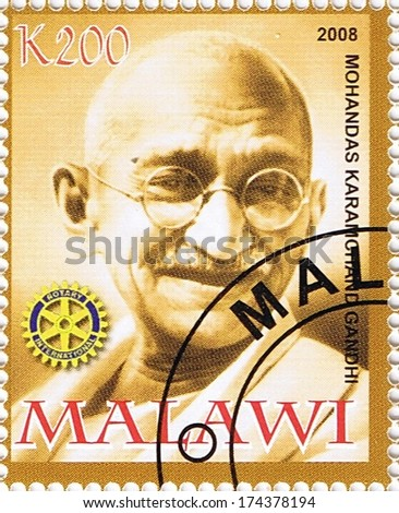 MALAWI - CIRCA 2008: A stamp printed in Malawi shows Mahatma Gandhi, series, circa 2008 - stock photo