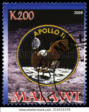 MALAWI - CIRCA 2008: A used postage stamp from Malawi commemorating the Apollo 11 Moon Landing, circa 2008. - stock photo