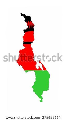 malawi country flag map shape national symbol - stock photo