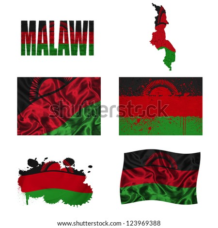 Malawi flag and map in different styles in different textures