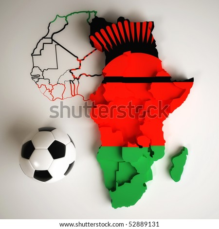 Malawian flag on map of Africa with national borders