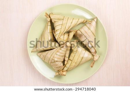 Malay rice dumplings, Ketupat - stock photo