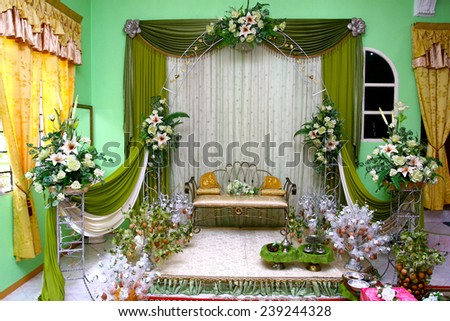 malay traditional wedding stage decoration - stock photo