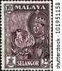 MALAYA - CIRCA 1957: A stamp from state Selangor of the Federation of Malaya shows tiger and portrait of Sultan Hisamud-din Alam Shah, circa 1957 - stock photo