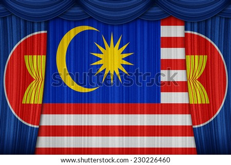 Malaysia, a member of the AEC members on curtain texture - stock photo