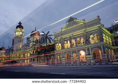 Malaysia city night, famous landmark and attraction place, Sultan Abdul Samad Building in Kuala Lumpur, Malaysia, Asia. - stock photo