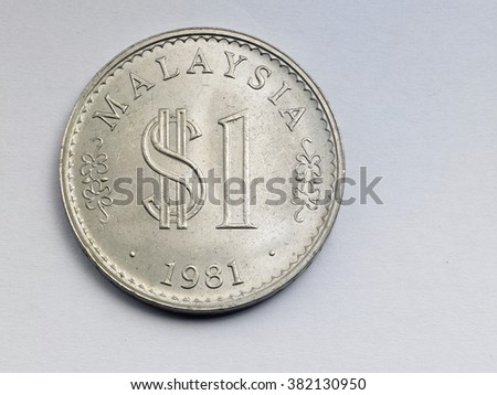 malaysia coin on the white background