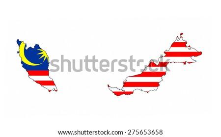 malaysia country flag map shape national symbol - stock photo
