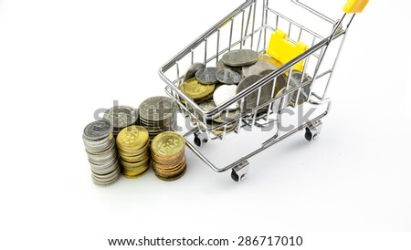 Malaysia currency shilling coins or small change with mini shopping trolley. Concept of shopping and savings. Slightly defocused and close up shot. Isolated on white background. Copy space. - stock photo