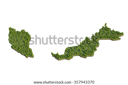 Malaysia3D map section cut isolated on white with clipping path