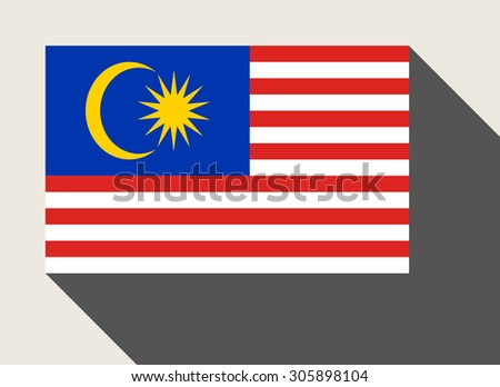 Malaysia flag in flat web design style. - stock photo