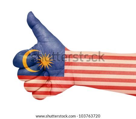 Malaysia flag on thumb up gesture like icon on white background - stock photo