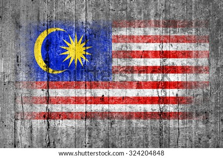 Malaysia flag painted on background texture gray concrete - stock photo