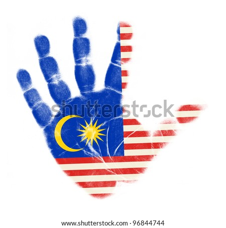 Malaysia flag palm print isolated on white background